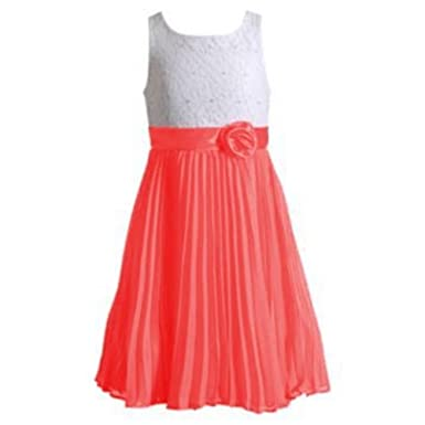 Image Unavailable. Image not available for. Color  Youngland Girl Lace  Pleated Chiffon Dress W 3D Flower Coral Pink 4 e03ef80a7