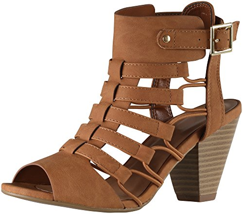 Cambridge Select Women's Open Toe Gladiator Caged Cutout Buckled Ankle Strap Chunky Tapered Heel Ankle Bootie (7.5 B(M) US, Tan NBPU)