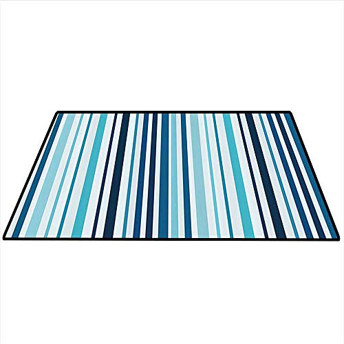 Abstract Dining Room Home Bedroom Carpet Vertical Striped Pastel Toned Color Bands Lines Background Nautical Design Artwork Home Decor Area Rug 4'x6' (W120cmxL180cm) Sky and Dark Blue