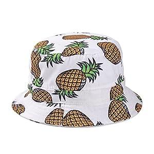 Great Sun Hats,Dealzip Inc Bucket Hats Ladies Women Girls Headwear Pineapple pattern Summer Wide Rim Flat Fishing Bucket Hats
