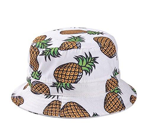 Dealzip Inc? Ladies Women Summer Headwear Pineapple pattern Wide Rim Flat Fishing Bucket Hat-White