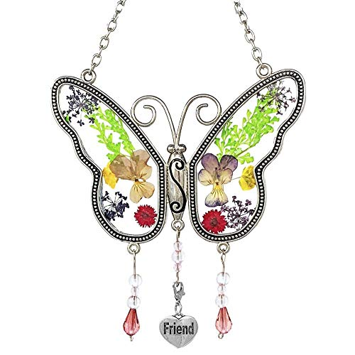 BANBERRY DESIGNS Best Friends Butterfly Suncatcher - Pressed Flowers Sun Catcher with a Silver Engraved Heart Charm - Friend Gifts