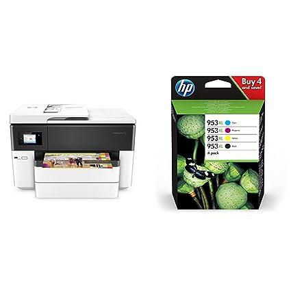 HP OfficeJet Pro 7740 – Impresora multifunción de Gran Formato, Color Blanco + Packard 3HZ52AE - Paquete de 4 Cartuchos de Tinta Originales HP 953XL ...