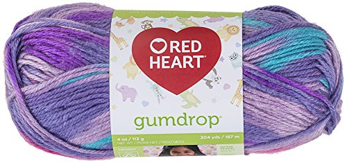RED HEART Gumdrop Yarn, Grape - Crochet Acrylic Hook Heart