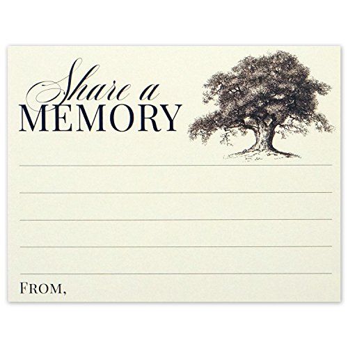 Share a Memory Card for Memorial Funeral or Celebration of Life - Flat Cards Size 4.25x5.5 Inches - Pack of -