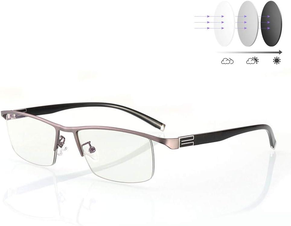 D&XQX Transición fotocromáticos Gafas de Lectura del capítulo del Metal UV400 Gafas de Sol Anti-Azul Claro protección contra la radiación Ordenador Unisex de los vidrios,+275