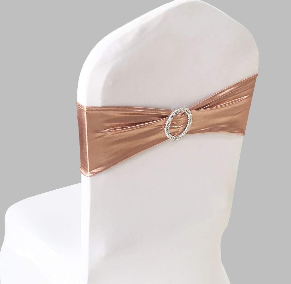 SINSSOWL Pack of 50PCS Elastic Slider Chair Sashes Spandex Chair Cover Band Bows for Wedding Decoration-Rose Gold Pink Gold