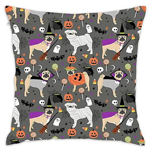 Wbsdfken Pug Halloween Costumes Mummy Witch Vampire Pug Dog Breed Pattern Cotton Linen Square Throw Pillow Case Decorative Cushion Cover Pillowcase Sofa (1818 inch) -