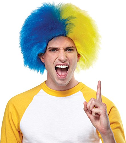 Crazy Sports Fan Wig color Gold & Navy Blue - Fun Spiky Nuggets Royals Bruins Brewers Galaxy Chargers Notre Team Troll Style Synthetic ()