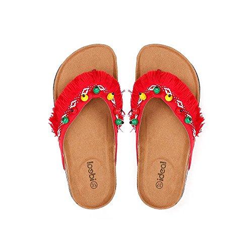Franges Adixia Nu Pieds Ideal à Shoes Rouge nXg6BIq