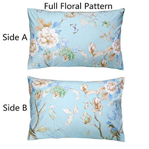 FADFAY 20X30 Pillowcase Shabby Blue Floral Bird Print Shams 100% Egyptian Cotton Pillow Covers, 2Pcs, Standard Size (Twin/Full/Queen)