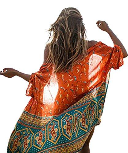 Andyicee Womens Printed Chiffon Kimono Cardigan Sheer Beachwear Cover Up (Beachwear Wrap)