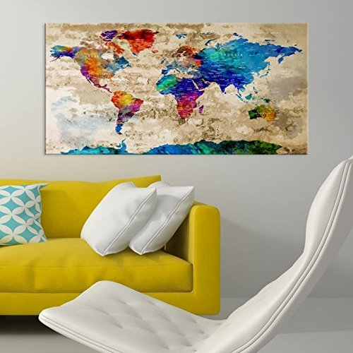 Amazon colorful world map canvas print world map wall art colorful world map canvas print world map wall art framed wall art canvas map gumiabroncs Gallery