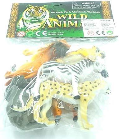 Animales plásticos del zoológico, Elefantes, Jirafas, cebras, guepardos, Tigres y Leones.