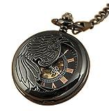 VIGOROSO Men's Hand Winding Steampunk Chain Cool Black Steel Wing Mechanical Pocket Watch