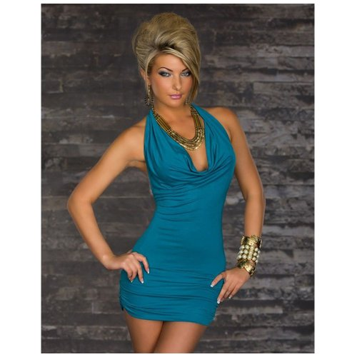 Cowl Halter Halter Dress - Ladies Fashion sexy Halter Cowl Neck Backless Skinny nightclub Mini Dress blue one size