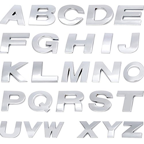 maxgoods Set of 26 Alphabet Letters Stickers,Car Decal Stickers 3D Emblem Logo Trim Badge for Men and -