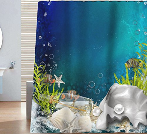Sunlit Nautical Deep Sea Blue Ocean Scenery Shower Curtain with Tropical Fish Seashell Starfish White Pearl Seaweed and Underwater Bubbles, Picture of the Seascapes Aquatic Life, Blue Green Turquoise (Sea Tropical Life)