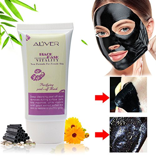 Blackhead & Acne Remover,Pore Cleansing Mask, Natural Activated Charcoal Peel Off Mask, Black Mask by Aliver (50ml)