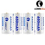 LUMINTOP 3.7V 650mAh Circuit Protected RCR123A Rechargeable Li-ion Battery with High Performance Circuit Protection Tech and Battery Carrying Case (Pack of 4)