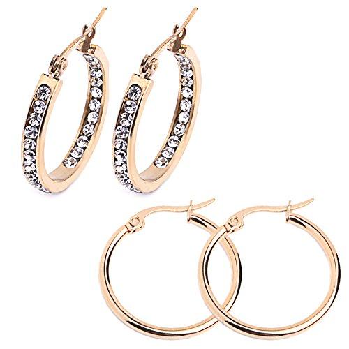 City Pierce Earrings Steel Large Hoop CZ Crystals Women Huggie Jewelry Set 2 Pairs