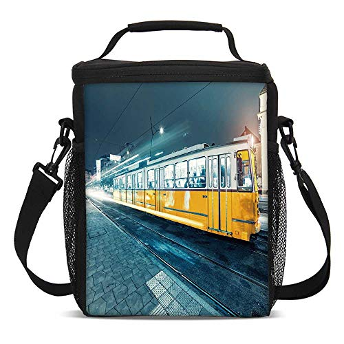 Yellow and Blue Fashionable Lunch Bag,Old Tram in the City Center Vintage Urban Train Station European Town Image for Travel Picnic,One ()