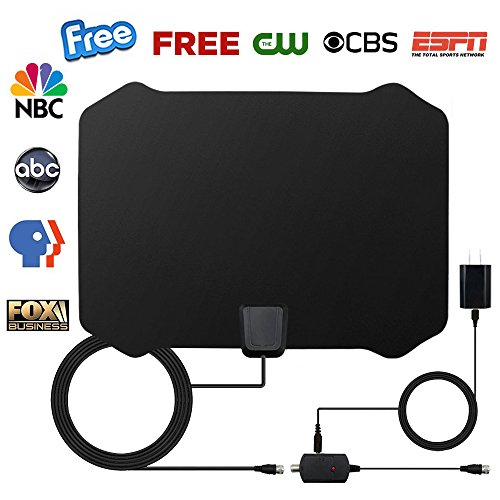 HDTV Antenna, Indoor Amplified TV Antenna 70 Miles Range with Detachable Amplifier Signal Booster and 16 Feet Coaxial Cable (Black)