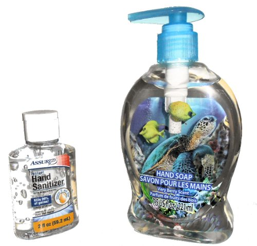 Assured 3D Sea Turtle Hand Soap Pump with Very Berry Scen...