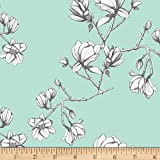 Art Gallery Wild Bloom Magnolia Study Fresh Mint Fabric By The Yard
