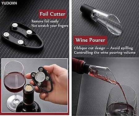 YUDONX Sacacorchos Eléctrico Abrebotellas Eléctrico.Profesional Automatico Abrelatas de Vino.con Cable de Carga USB y Base, Cortacápsulas, Vertedor, Tapón de Vino Silicona de Vacío,Caja de Regalo.