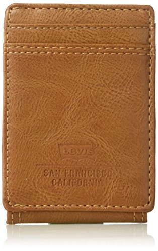 Levi's Men's Minimalist Front Pocket - Wallet with Magnetic Money Clip for Men Slim Thin RFID ID and Credit Card Holder, Tan, One Size