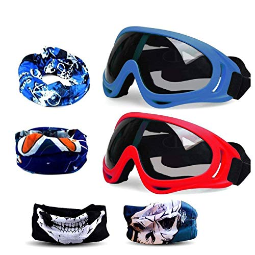 (Fstop Labs Gun Blaster Face Mask, Tactical Protective Goggles Glasses and Face Tube Mask for Nerf Guns N-Strike Elite Series, with 4 Pack Face Mask and 2 Pack Protective Glasses (Blue and Red))