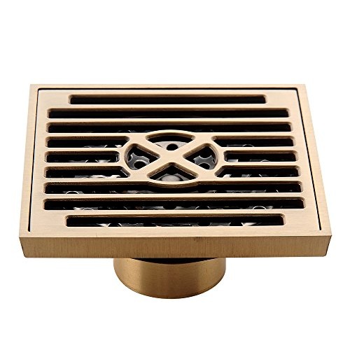 Surface Bolt Each Polished Brass - HARPOON Bathroom Shower Floor Drain Brass Square Filter Floor Drain Removable Cover, Polished Surface, Antique