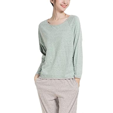Fayear Women Comfy Spring Autumn Long Sleeves Cotton Pajamas Homewear Set  Green 6e3684fec