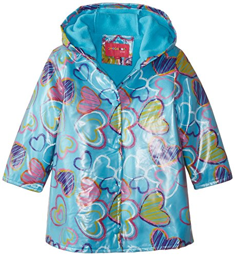 Wippette Little Girls' All Over Heart Raincoat, Turquoise, 5/6