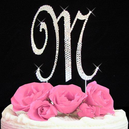 Letter M - Swarovski Crystal Monogram Wedding Cake Topper Letter