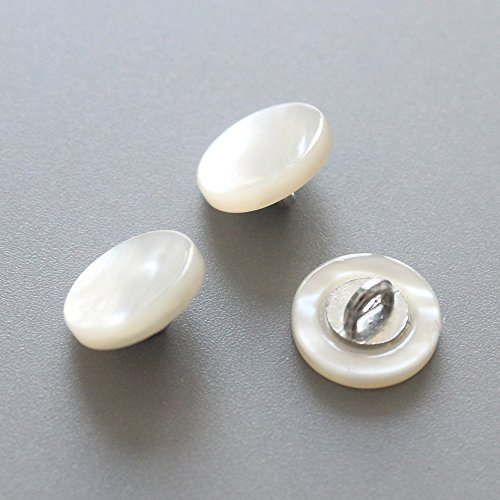 12mm Mop Of Mother Pearl (YaHoGa 10PCS Genuine White Mother of Pearl MOP Buttons Bulk 12mm (1/2 inch) White MOP Buttons with Shank for Clothes Shirts Suits Coats Sweaters)
