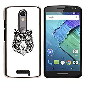 Jordan Colourful Shop - Tribal Tiger Tattoo For Motorola Moto X 3rd / Moto X Style Personalizado negro cubierta de la caja de pl????stico
