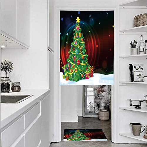 SCOCICI 3D Printed Linen Textured French 1 Panel Door Curtains 1pcs Doormat Kitchen Mat Rug,Xmas Tree Abstract Backdrop Stars PresentsSingle Panel Door Curtain 31.5