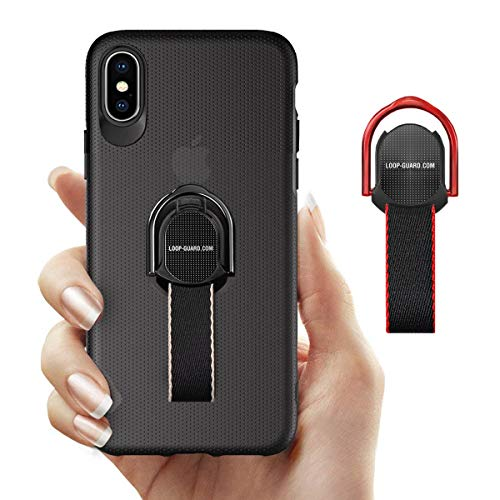 LAVAVIK iPhone X/XS Case with Finger Straps & Ring Holder Kickstand, Slim Fit Hard Cover with Grips Loop for Apple iPhone X/10/XS, Support Magnetic Car Mount and Wireless Charging (Black)
