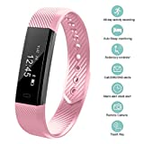 OMN Fitness Tracker Smart Bracelet Bluetooth Call Remind Remote Self-Timer Smart Watch Activity Tracker Calorie Counter Wireless Pedometer Sport Band Sleep Monitor For Android iOS Phone (Pink)