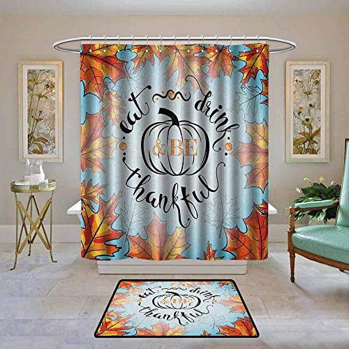 Waterproof Fabric Shower Curtain Quote,Eat Drink and Be Thankful Quote for Thanksgiving with Fall Leaves, Sky Blue Dark Orange and Black,Machine Washable - Shower Hooks are Included 72