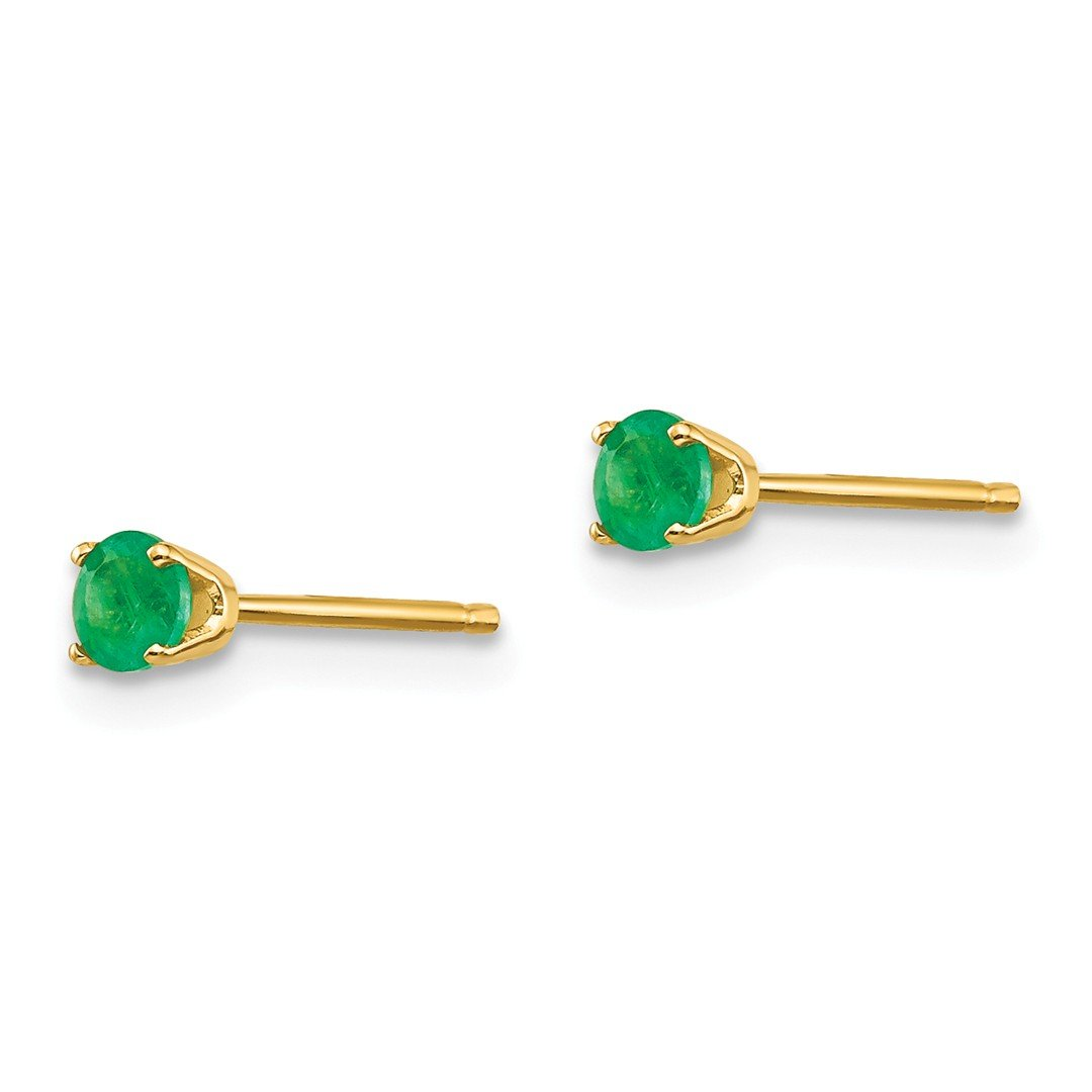 ICE CARATS 14k Yellow Gold 3mm May/emerald Post Stud Ball Button Earrings Birthstone May Prong Fine Jewelry Gift Set For Women Heart by ICE CARATS (Image #3)