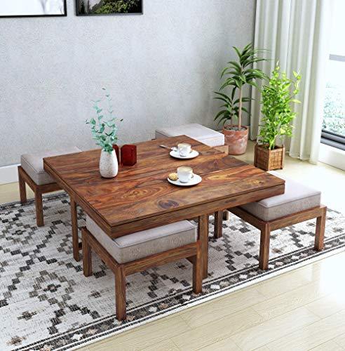 Home Edge Sheesham Solid Wood Vesta 4 Stool Beige Coffee Table Teak