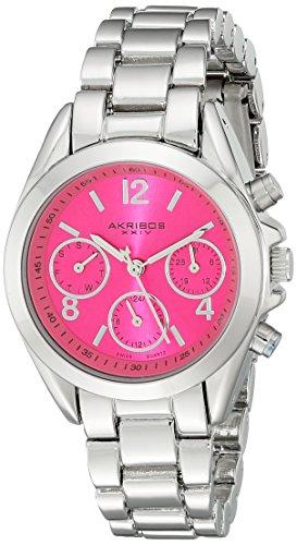 Akribos XXIV Women's AK809SSPK Multifunction Swiss Quartz Movement Watch with Pink Dial and Silver Bracelet