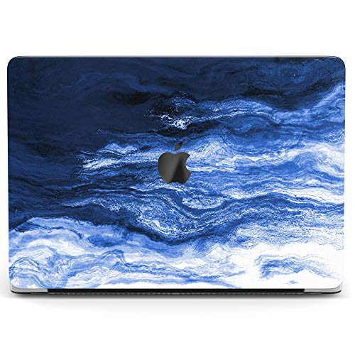 Wonder Wild Case for MacBook Air 13 inch Pro 15 2019 2018 Retina 12 11 Apple Hard Mac Protective Cover Touch Bar 2017 2016 2015 Plastic Laptop Print Abstract Waves Blue Paint Ocean Minimal Watercolor