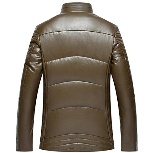 Coat Brown Men's Short Father sleeved CHENSH The Leather Fitted Slim Jacket Jacket Winter Down Elderly In aFf4q6x