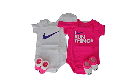 4d4beb28a Nike Babys - 5 Piece Set Baby Grow Booties hat - White Purple Pink ...