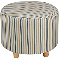 Cortesi Home Jenner Round Ottoman in Striped Fabric