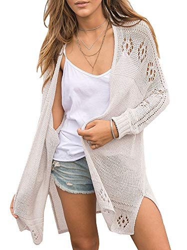 Yacooh Womens Boho Knit Cardigans Lightweight Oversized Henley Button Down Cover Up V Neck Sweaters Loose Sheer Boho Tops (Small, Zz-Grey)